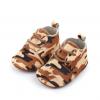 Leren babyschoenen camouflage bruin