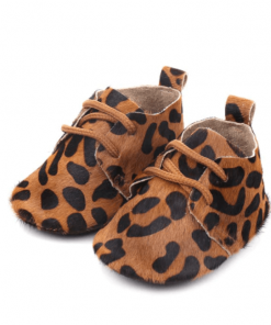 Leren babyschoenen luipaard groot
