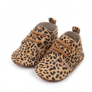 Leren babyschoenen luipaard klein