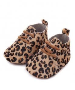 Leren babyschoenen luipaard medium