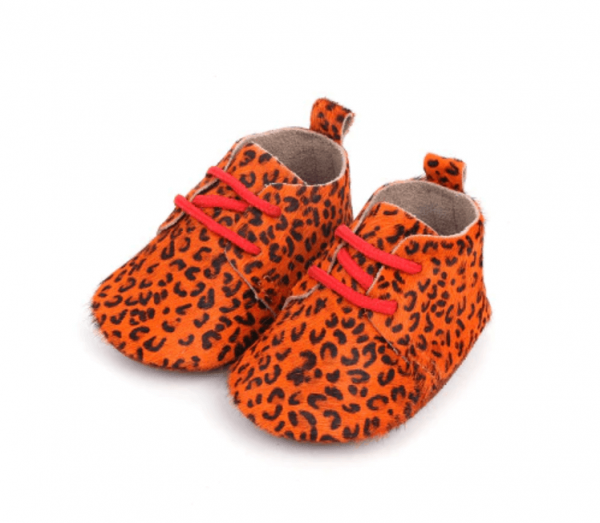 Leren babyschoenen panter oranje
