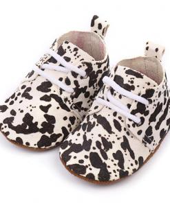 Leren babyschoenen Zwart Wit